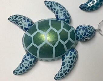 Blue Hawaiian Honu Turtle Gourd Ornament