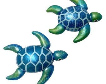 Blue & Green Hawaiian Honu Turtle Gourd Ornament