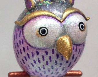 Silver Colored Sparkly Owl Ornament
