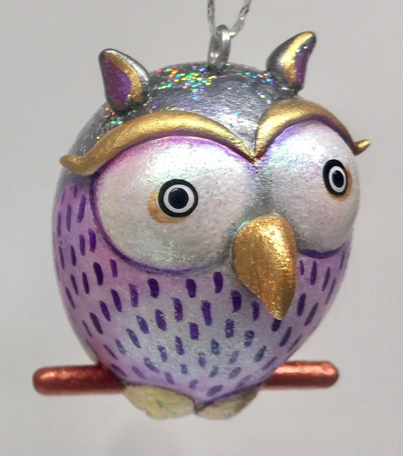 Silver Colored Sparkly Owl Ornament image 0