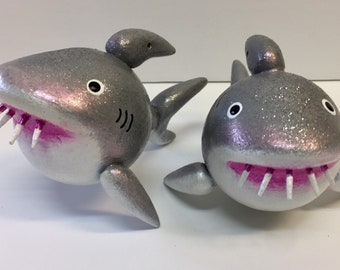 Hungry Shark Gourd Ornament for Holiday or Christmas