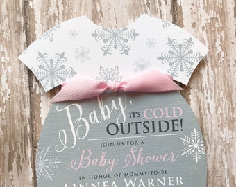 Winter baby shower etsy baby its cold outside invitation onesie baby shower invitation snowflake baby shower invitation winter baby shower invitation filmwisefo
