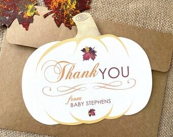 Our Little Pumpkin Thank You Card Set, Fall Baby Shower Thank You Cards, Rustic Autumn Shower Thanks