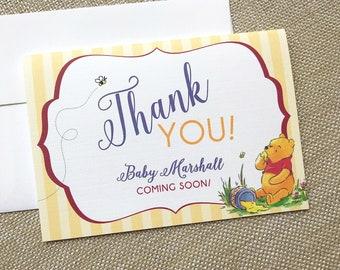 Winnie the Pooh Baby Shower, Classic Winnie the Pooh Shower Thank You, Pooh Thank You Card, Hunny Shower Thank You, Pooh Bee Thank You Card