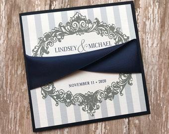 Navy Blue Wedding Invitation, Silver Vintage Frame Wedding Invitation, Square Wedding Invitation, Rustic Wedding Invite, Victorian Wedding