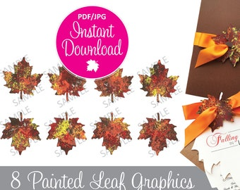 Hand Painted Maple Leaf Graphic - Fall Maple Leaves - Painted Fall Leaf PDF JPG - Instant Download - Autumn Leaves - Fall Leaf Digital File