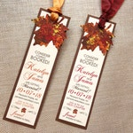 Autumn Wedding Save the Date, Fall Save the Date Bookmark, Painted Fall Leaf Save the Date, Autumn Tree Wedding Save the Date, Leaf Wedding