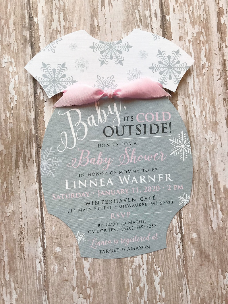 Baby Its Cold Outside Invitation Onesie Baby Shower image 0