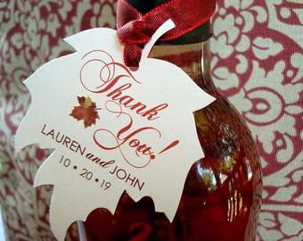 Falling In Love Wedding, Maple Leaf Favor Tags, Fall Wedding Favor Tags, Autumn Leaf Wedding Gift Tags, Fall Leaf Thank You Favor Tags