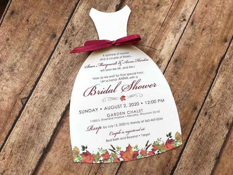 Fall Leaf Bridal Shower Invitation Fall Wedding Shower image 0