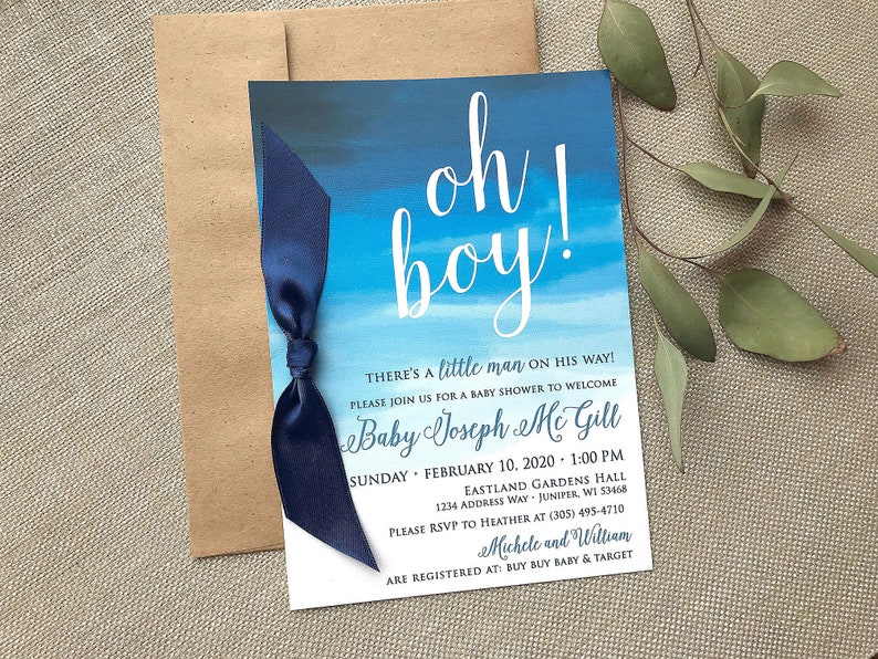 Oh Boy Baby Shower Invitation Watercolor Blue Baby Shower image 0