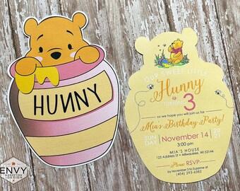 Winnie the Pooh Birthday Invitation, Classic Winnie the Pooh, Winnie the Pooh Honey Pot, Sweet Little Hunny Invitation, Hunny Pot Shape