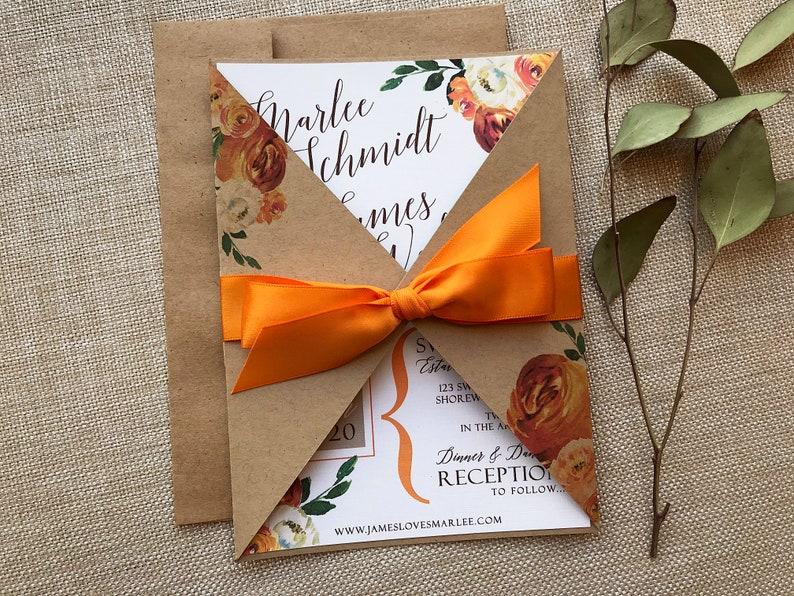 Watercolor Floral Wedding Invitation Fall Floral Wedding image 0