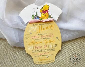 Winnie the Pooh Baby Shower Invite, Classic Winnie the Pooh Invitation, Winnie the Pooh Onesie, Baby Girl Shower Invitation, Drive By Shower