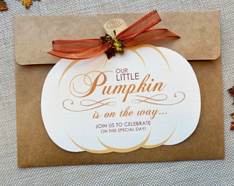 Our Little Pumpkin Invitation, Fall Baby Shower Invitation, Autumn Shower Invitations, Pumpkin Shape Shower Invite, Rustic Baby Shower