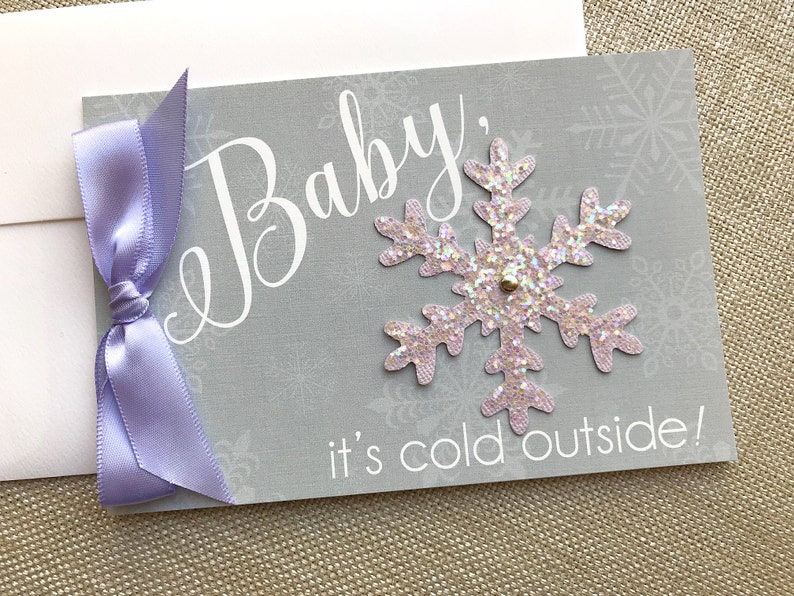 Baby It's Cold Outside Shower Invitation Snowflake Baby image 0