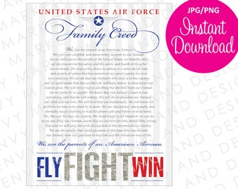 Air Force Digital File - USAF 8x10 Family Creed - Instant Download - Air Force Parent Instant Download - Proud Air Force Mom - US Military