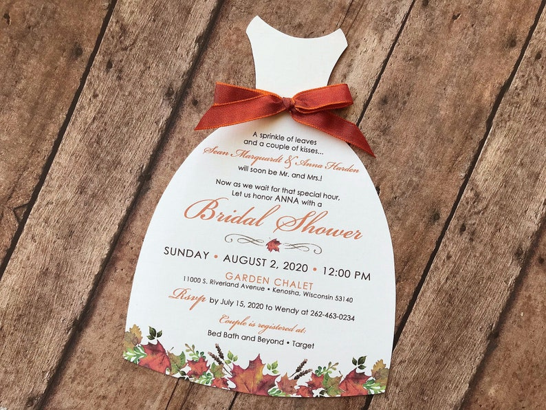 5a2c1f65a23d Fall Leaf Bridal Shower Invitation Fall Wedding Shower