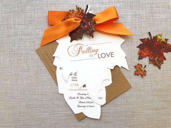 Falling Leaves Falling in Love Wedding Digital Invitation Set