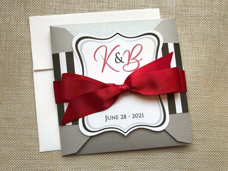 Black and White Striped Wedding Invitation Silver Modern image 0