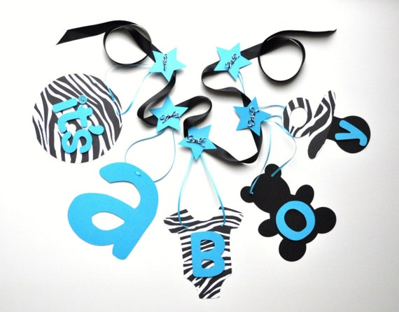 Zebra and blue baby shower decorations it's a boy banner ...