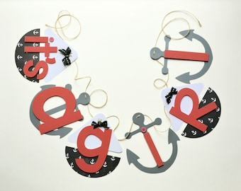 Nautical baby shower decorations coral and navy anchor it's a girl banner by ParkersPrints on Etsy NEW Larger Size