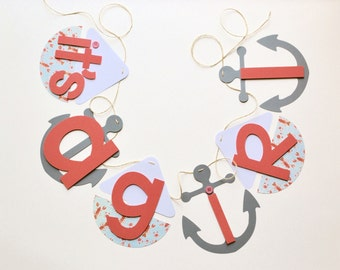 Nautical baby shower decorations coral and sky blue lobster it's a girl banner by ParkersPrints on Etsy NEW Larger Size