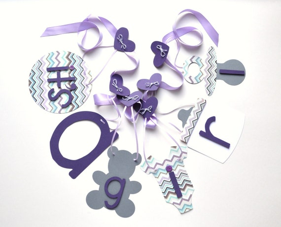 Its A Girl Banner Purple And Grey Chevron Baby Shower Decorations
