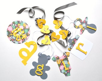 Grey and yellow baby shower decorations it's a girl banner by ParkersPrints on Etsy