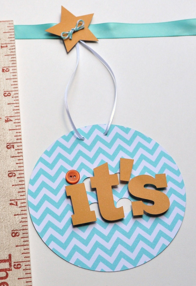 Baby shower decorations orange and turquoise chevron it/'s a boy banner by ParkersPrints on Etsy