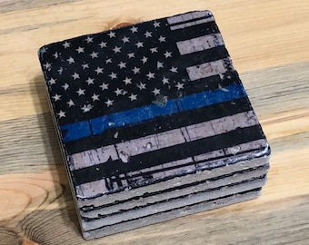 4e2cd03b9220 Coaster Set American Flag with Blue Line Coasters Natural Stone Set of 4  with Full Cork Bottom Law Enforcement Police Officer Gift Cop