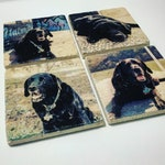 1 Single Custom Coaster with Your Personalized Photo Coaster Natural Stone with Full Cork Bottom Instagram Snapchat Artwork Facebook