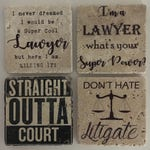 Lawyer Coasters Natural Travertine Tile Tumbled Stone Table Coasters Set of 4 with Full Cork Bottom Attorney Coasters Judge Coasters