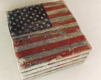 09ff2bb58c19 Coaster Set Distressed American Flag Coasters Natural Stone Coasters Set of  4 with Full Cork Bottom Rustic Flag