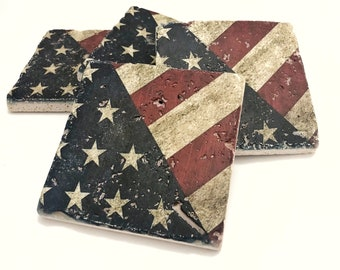 Handcrafted Wood Coasters Patriotic Lady Red White /& Blue Stars One of a Kind Set of 4