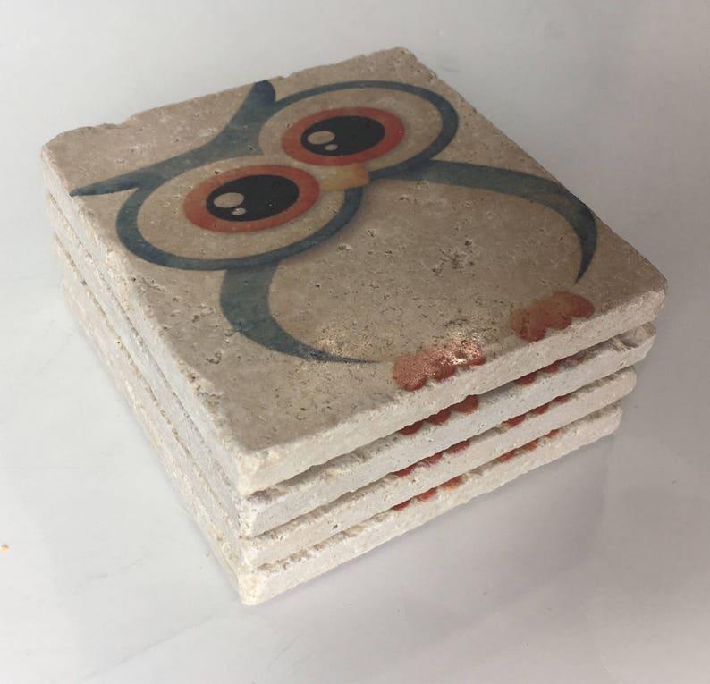 Cute Owl Natural Stone Coasters Set of 4 Full Cork Bottom image 0