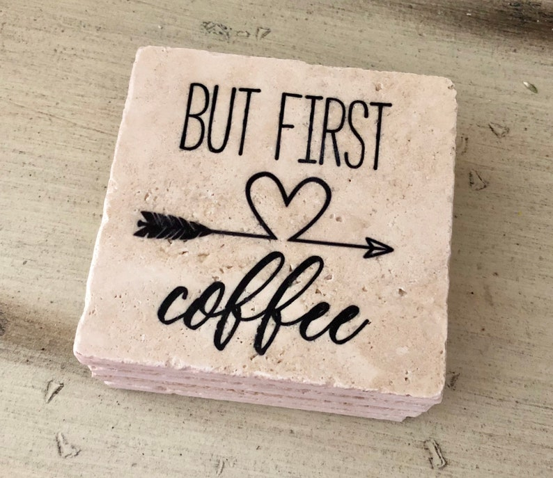 But First Coffee Natural Stone Coasters Set of 4 Full Cork image 0