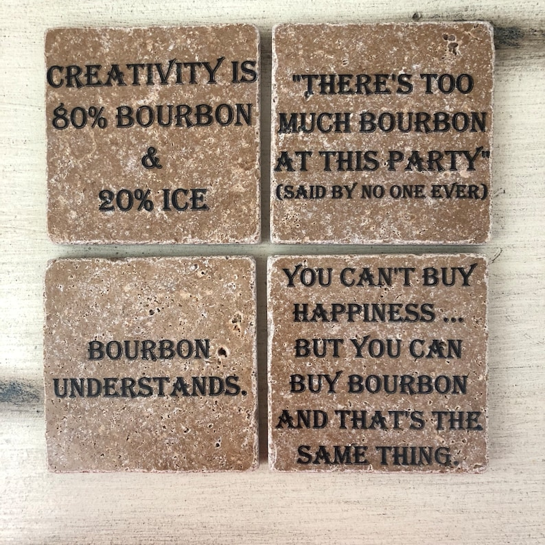 Bourbon Coasters Natural Stone Coasters Set of 4 Different image 0
