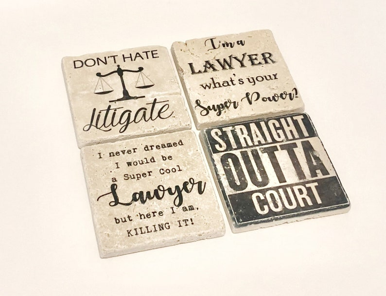 Lawyer Coasters Natural Stone Coasters Set of 4 with Full image 0