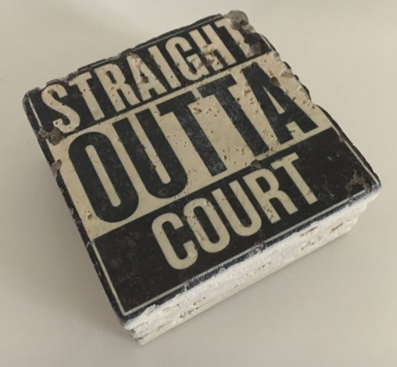 Straight Outta Court Natural Travertine Tile Stone Coasters image 0