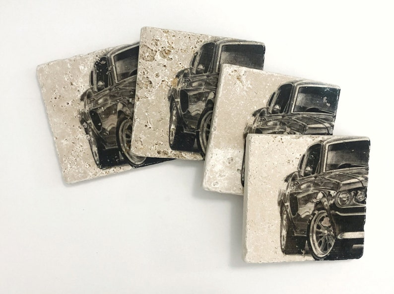 Classic Car Natural Stone Coasters Set of 4 with Full Cork image 0