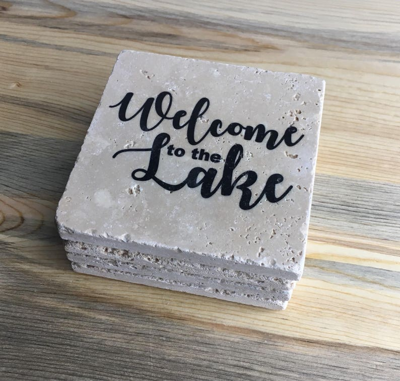 Welcome to the Lake Natural Stone Coasters Set of 4 with Full image 0