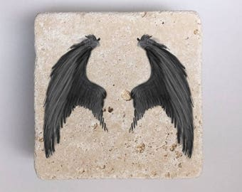 Black Wings Natural Stone Coasters Set of 4 with Full Cork Bottom Black Wing Gothic Halloween Dark