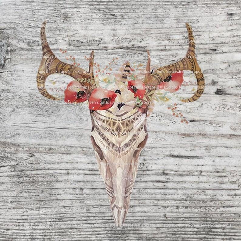 DIGITAL DOWNLOAD 4 Pack Rustic Deer Skull PNG Digital Download image 0