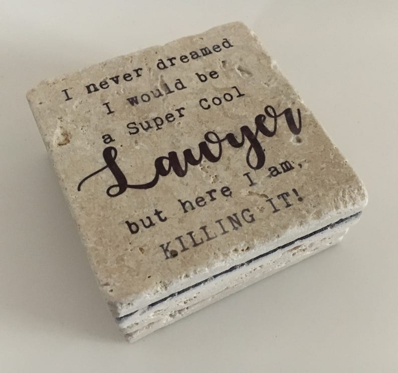 Lawyer Coasters Super Cool Lawyer Natural Stone Coasters Set image 0