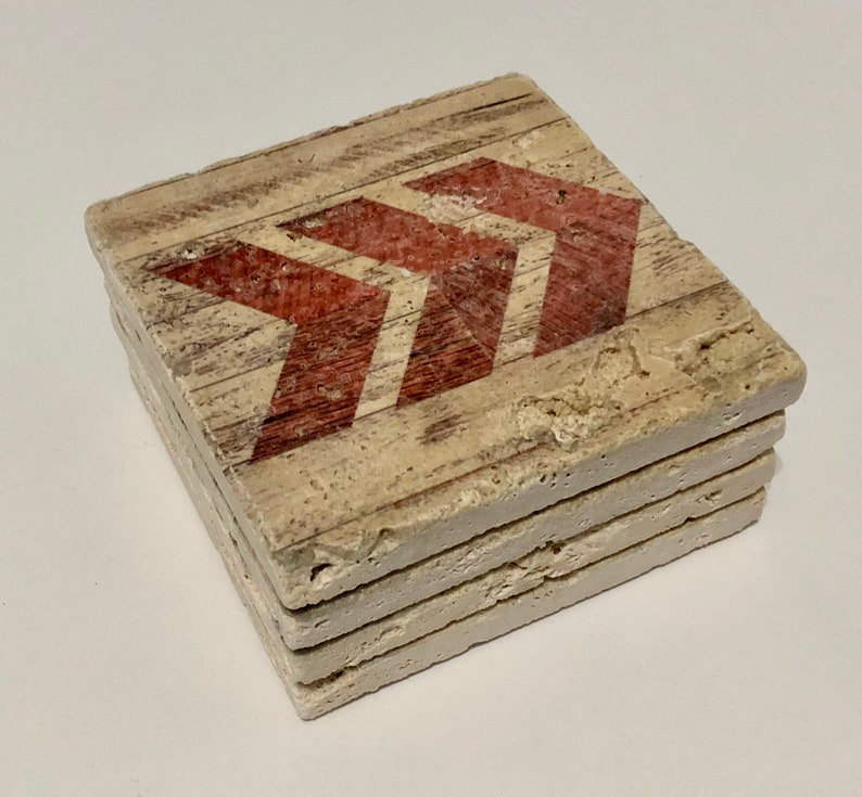 Red Chevron Arrow Natural Stone Coaster Set of 4 with Full image 0