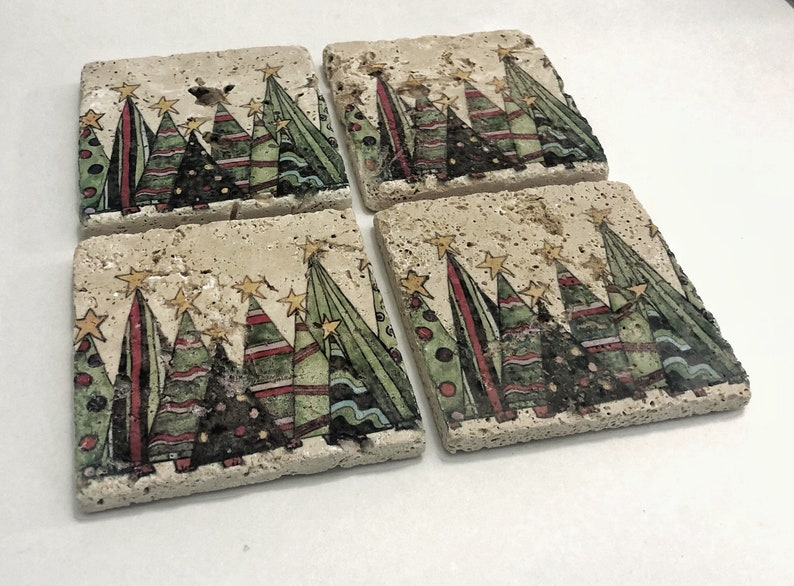 Christmas Tree Natural Stone Coasters Set of 4 with Full Cork image 0