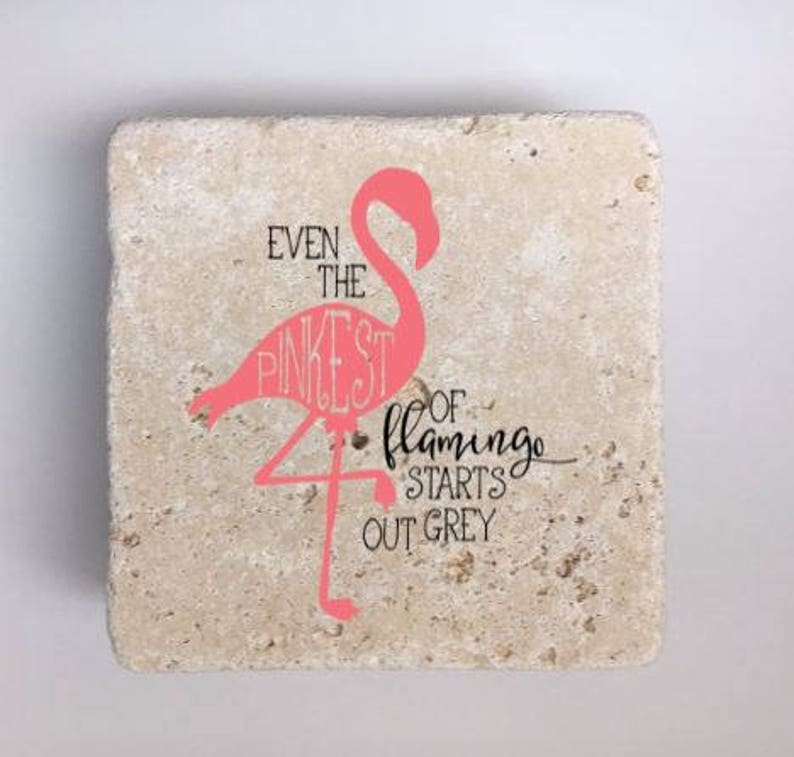 Pink Flamingo Coasters Natural Stone Coasters Set of 4 with image 0