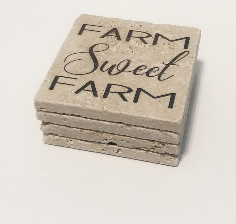 Farm Sweet Farm Natural Stone Coasters Set of 4 with Full Cork image 0