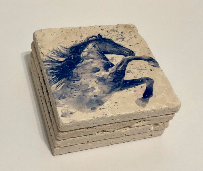 Watercolor Horse Blue Natural Stone Coasters Set of 4 with image 0